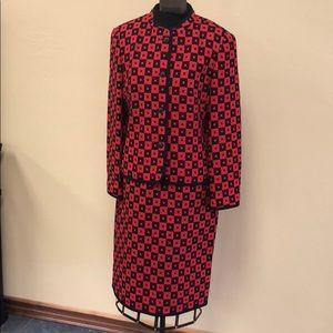 Louis Feraud red and black printed jacket & skirt